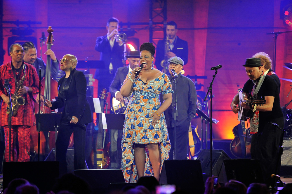 Celebrating International Jazz Day 2015 in Paris, France, are (left to right): Femi Kuti, James Genus, Dee Dee Bridgewater, Till Bronner, Marcus Miller, Dianne Reeves, Al Jarreau, Guillaume Perret and Dhafer Youssef.